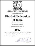 Kin-Ball Federation of India Certificate